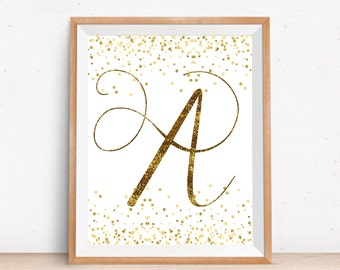 Nursery Gold Letter A Printable, Monogram Gold Wall Decor, Printable Nursery Art, Printable Gold Art, Baby Gift, Typography Letter Wall Art
