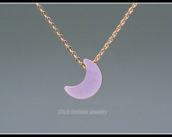 Solid rose gold Moon necklace, solid rose gold moon crescent necklace, moon crescent necklace, rose gold jewelry, Girl Friends Gift