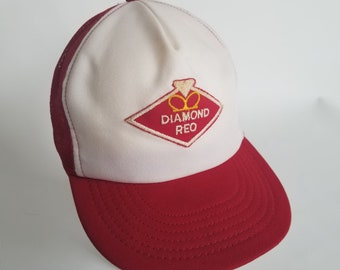 Vintage Diamond Reo Mesh Snapback Trucker Hat Cap Patch Red Made in the USA