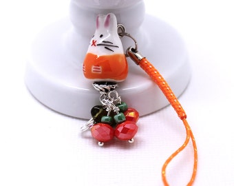 Pumpkin Bunny Rabbit - Kawaii Cute Phone Charm / Purse Charm, Lanyard or Dust Plug, Orange Crystal Pumpkins, Czech Glass Leaf Bead