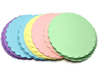 Pastel tags, Gift tags, Scalloped Pastel Tags 50 - 2 inch tags