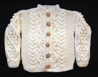 """Irish Knit Baby Sweater """"Find me in the heather"""""""