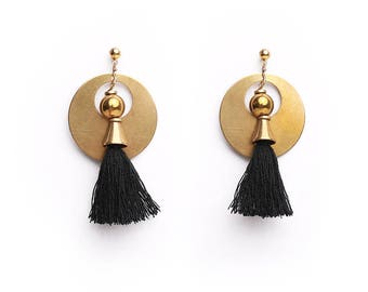Black Tassel Earrings, Elegant Earrings, Dangle Tassel Earrings, Chic Earrings, Statement Tassel, Beautiful Earrings, Chunky Earrings