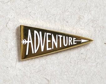 Adventure Enamel Pin // Gold Pennant // Hard Enamel Cloisonné