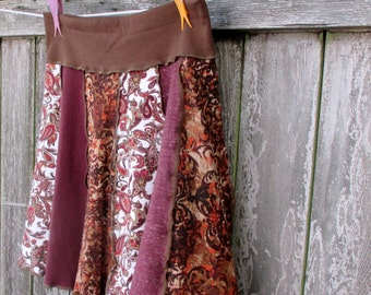 Upcycled Skirt Recycled Tshirts Floral Print Burgundy Wine Brown Large XL Eco Thankful Rose