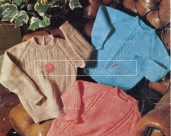 """Baby Toddler Sweaters Knitting Pattern Studley 764 DK 18-24"""" Knitting Pattern PDF instant download"""
