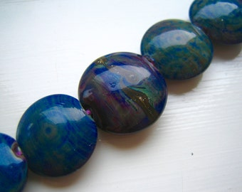Silvered Blues Lampwork Glass Beads, SRA, UK Seller