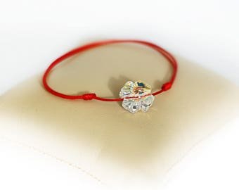 Amulet Protection Bracelet Red String Bracelet Swarosvski Four Leaf Clover Charm Evil Eye Protection