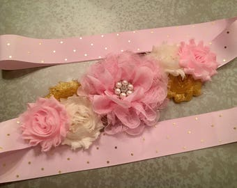 Pink and Gold Baby Shower, Flower Girl Sash, Maternity Sash, Baby Girl, Gold Sash, pink maternity sash, baby shower sash, pink and gold sash