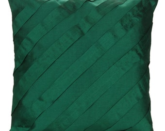 Solid Emerald Green Pillow Cover Pleated Textured Solid Emerald Green Euro Sham 14x14 16x16 18x18 20x20 22x22 24x24 26x26