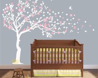 Sale Cherry blossom Wall decal white  Wall decal for nursery , large Tree wall decal , Cherry Wall decal , Nursery Wall stickers tree