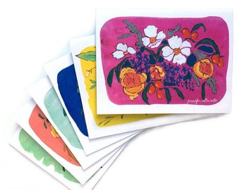 Assorted floral notecards boxed set of 6