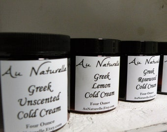 Greek Cold Cream  - Four Ounces  -  Brown Apothecary Jar - Rose Geranium -  Normal To Dry Skin Types  -  Organic  -   All Natural