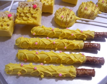 Pretzel Rods Beauty, Beast Princess Belle Themed Chocolate covered Pretzel Rods Rice Treat Pops or Oreo Pops 1 dozen