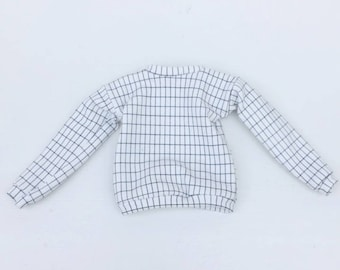 sweater white with grid