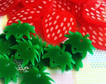 4 STRAWBERRIES laser cut acrylic charms for assembling