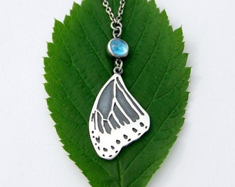 Morpho wing and swiss blue topaz cabochon necklace blue butterfly sterling silver handmade morpho wing necklace