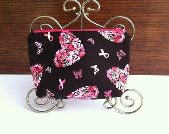 Butterfly Hearts and Ribbons Cosmetic Bag, Breast Cancer Awareness Makeup Bag, Black and Pink Hearts Cosmetic Bag, Breast Cancer Ribbons Bag