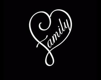 Family Love Curl Heart Vinyl Decal