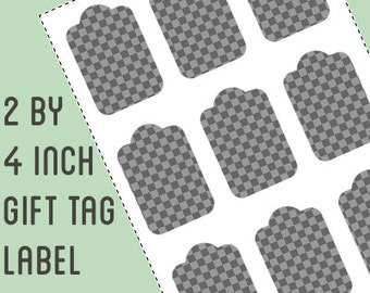 Gift tag / label template - 2 by 4 inch retangle - Do It Yourself gift tag labels - instant download