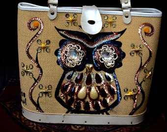 Mid century owl purse