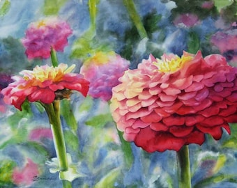 Zinnias floral giclee print from watercolor painting, pink flowers
