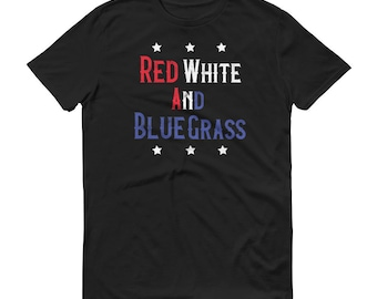 Red White Bluegrass Banjo Music T Shirt 4th Of July Fourth TShirt Men Women Fathers Day Gift Funny Sports Bar Unisex Independence Day