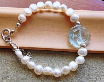 Aquamarine Blue Carved Quartz Flower, Mother's Day Jewelry, Freshwater Pearls and Sterling Bracelet, Minimalist Jewelry