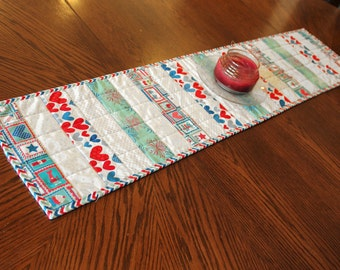 Patriotic Quilted Table Runner - Red, White, Blue and Aqua Blue Hearts and Stars , 4th of July, Quiltsy Handmade