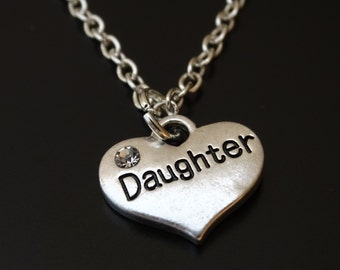 Daughter Necklace, Daughter Charm, Daughter Pendant, Daughter Jewelry, Daughter Gift, Daughter Birthday, Gift for Daughter, Mother Daughter