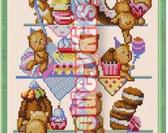 Teddy Bears and Cakes DIY bead embroidery kit beaded painting craft set needlework beadwork needlepoint sewing