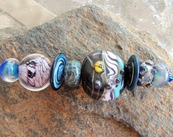 Handmade Lampwork Glass Bead Set - jewelry supplies - Mixed Beads Series - Silverfish Designs