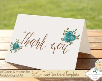 Thank You - Blue Rose - Hand Drawn Printable  Greeting Card Template, Clipart & EPS Vector Art Set - Instant Digital Download - 19447_2