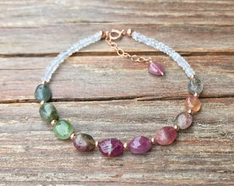 Watermelon tourmaline bracelet / Moonstone tourmaline bracelet / October birthstone / Gift for wife / Gift for her / Gemstone bracelet