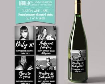 birthday wine labels - 30th birthday - dirty thirty labels - custom wine label - milestone wine label - birthday gift - waterproof label