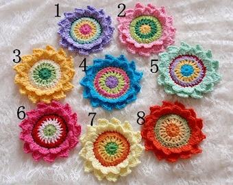 Large Crochet Flower Applique (3 inches )You Choose Color -Yh-227