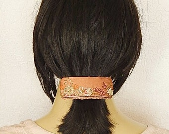 Mauve embroidered hair barrette, beaded floral clip for thick hair,use for updos and ponytails