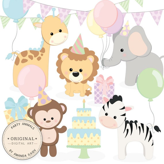 Professional Baby Birthday Party Animals Clipart Vector Set