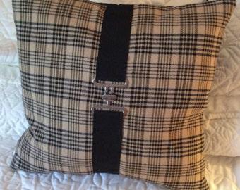 Tan  and Black Plaid Horse Blanket Pillow Equestrian Decor