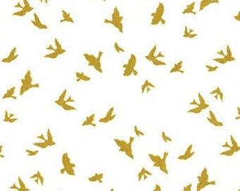 Bird Fabric-Gold Sparkle-Modern Metallic Fabric-Michael Miller-Birds in Flight Quilting Fabric