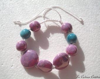 Purple and turquoise ceramic beads gems Bracelet:
