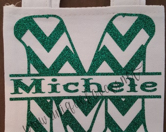 Chevron Monogram split letter with Name. Customize totes, t-shirts and more. Custom colors available.