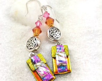 Dichroic glass earrings, fused glass jewelry, dichroic glass beads, rainbow earrings, sterling silver, celtic jewelry, Hana Sakura, dichroic