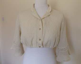 vintage 70s crochet crop top spring summer festival hippy boho blouse cream small 10 12