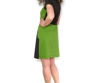 Dress with pockets, short sleeve, green and brown