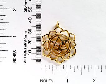 1 Gold Plated Merkaba Meditation Pendant Jewelry Supplies Findings GPMMP40MM-1BD2-45