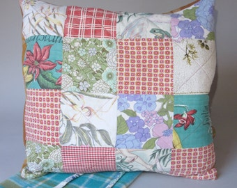 Retro Patchwork Quilted Cushion Cover with Vintage Fabric