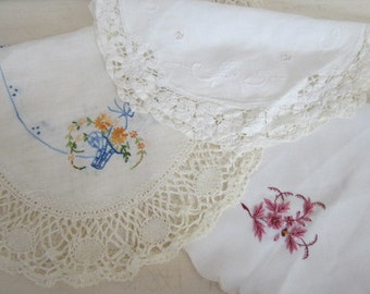 Three Vintage Hand Stitched Doily Floral Embroidery Home Decor Or Repurposing