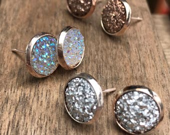 rose gold, gold, silver or bronze druzy stud earring set