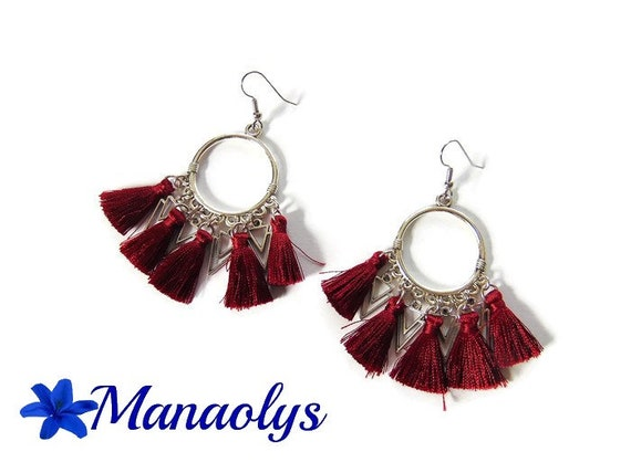 Hoop earrings Bohemian, tassels, Burgundy, triangle pendants